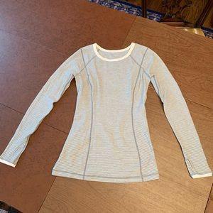 Lululemon long sleeved super soft, gray/white top